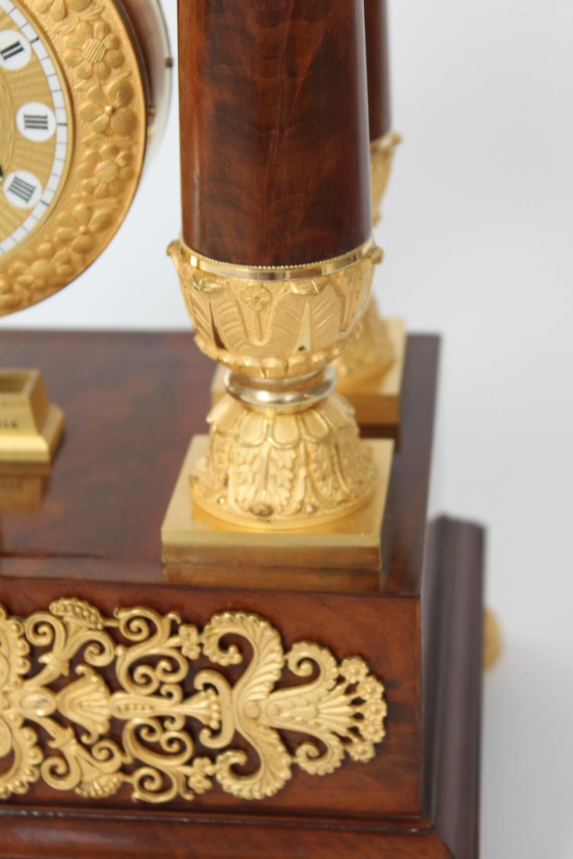 French-Restoration-Empire-ormolu-portico-oscillating-antique-clock