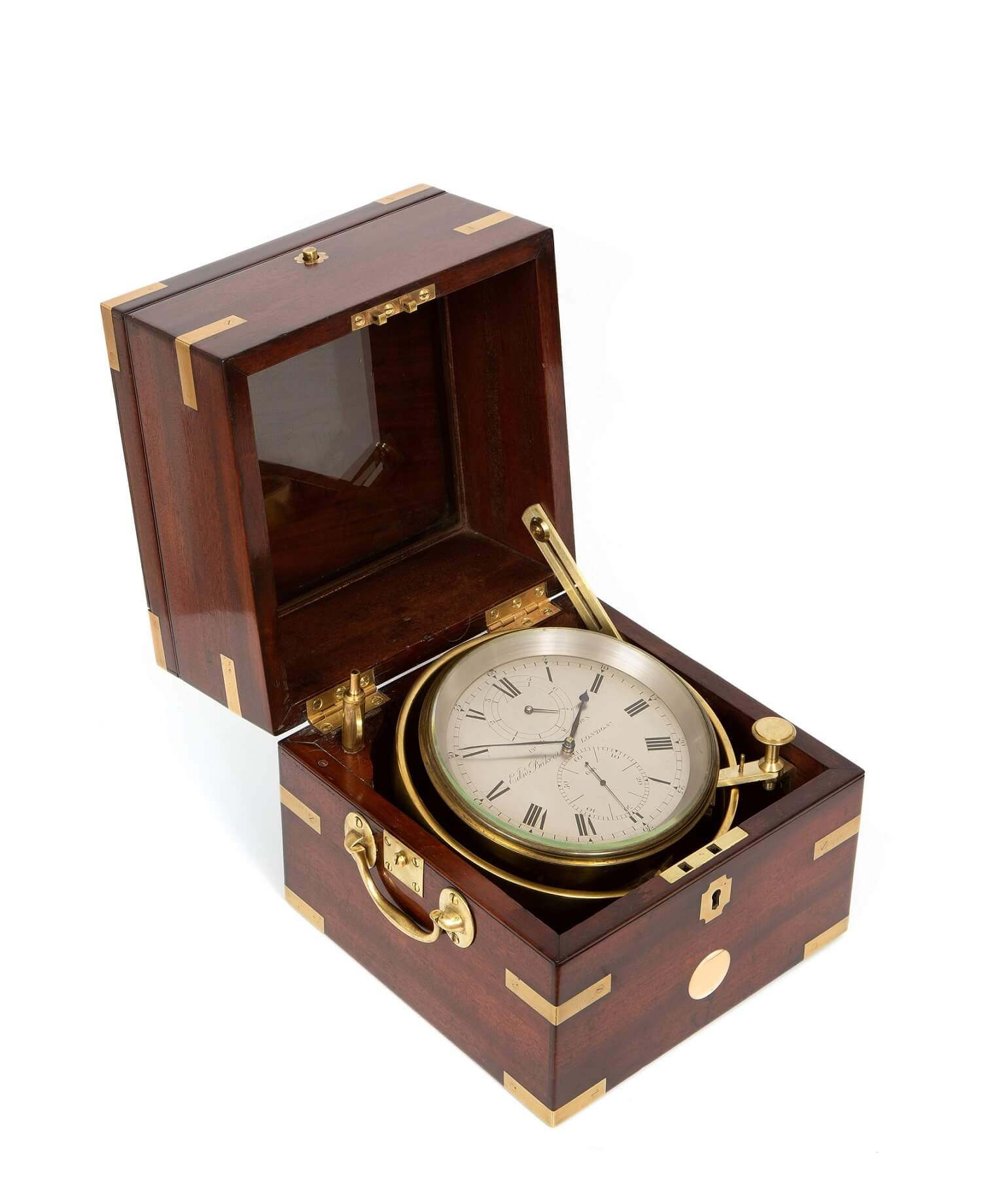 English-chronometer-8-day-London-antique-clock-mahogany-Edward Baker-