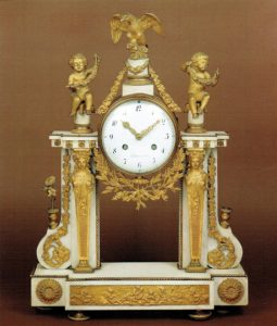 French-Louis XVI-antique-mantel-clock-ormolu-marble