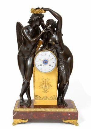 Een Belangrijke Franse Empire Sculpturale Pendule 'Amor En Psyche', Claude Michallon, Circa 1800