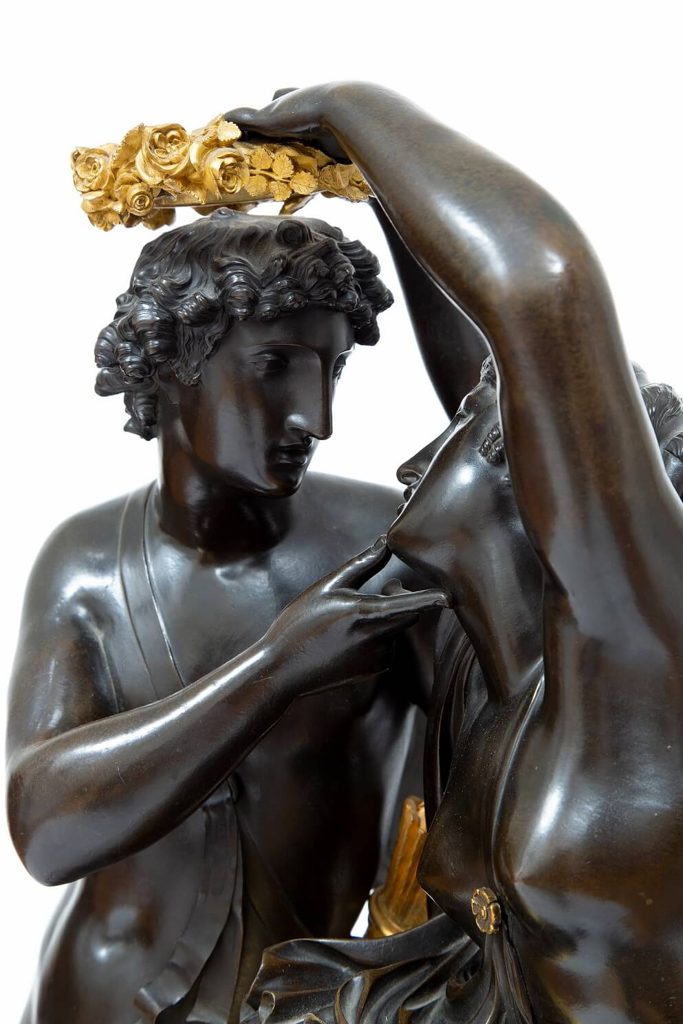 French-Empire-ormolu-gilt-bronze-patinated-sculptural-antique-mantel-clock-michallon-Galle-amor-psyche-10