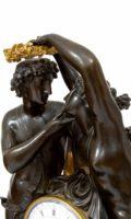 French-Empire-ormolu-gilt-bronze-patinated-sculptural-antique-mantel-clock-michallon-Galle-amor-psyche