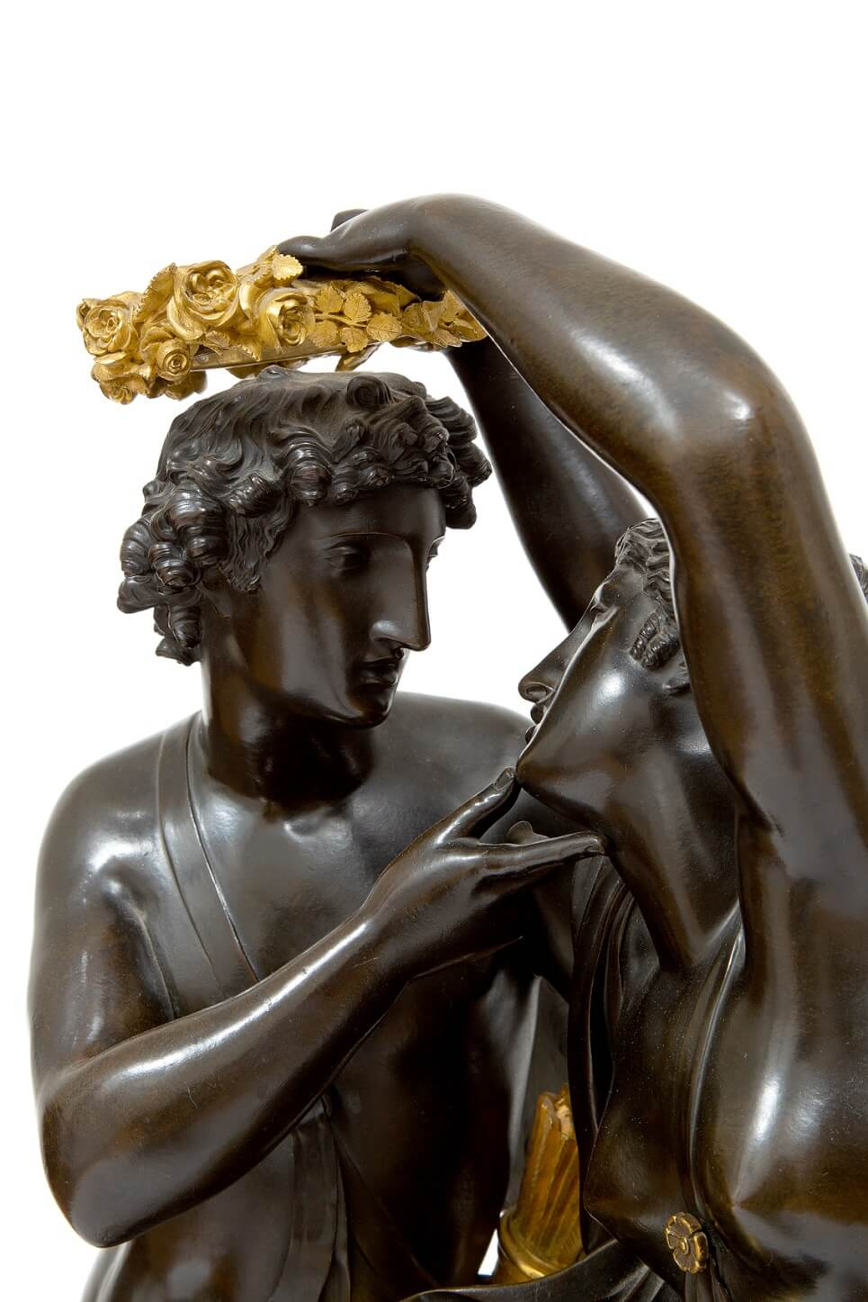 French-Empire-ormolu-gilt-bronze-patinated-sculptural-antique-mantel-clock-michallon-Galle-amor-psyche