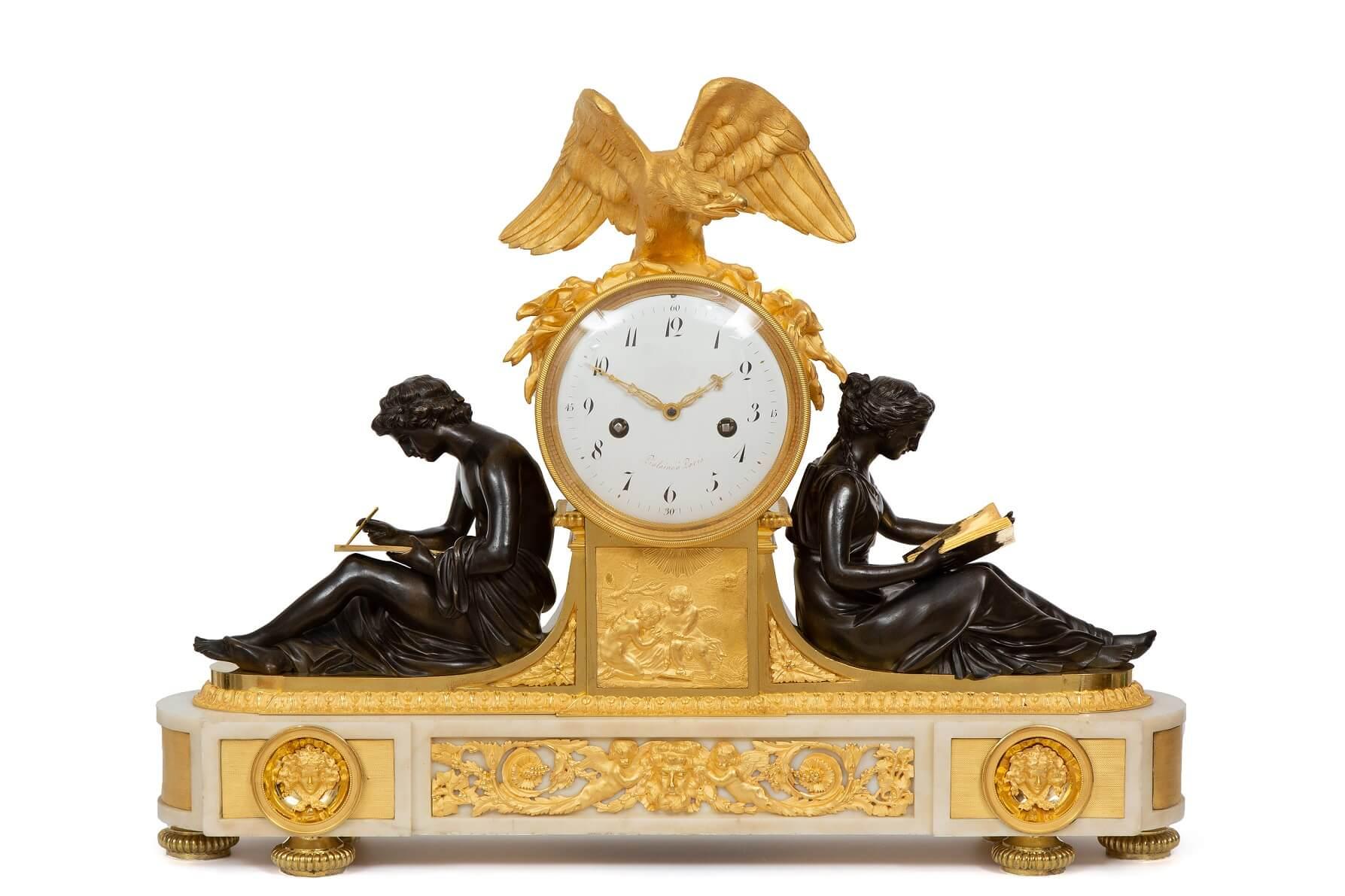 French-Louis XVI-ormolu-bronze-sculptural-antique-clock-study-Piolaine-Boizot-Remond