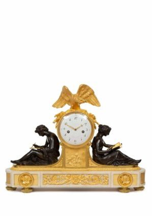 French-Louis XVI-ormolu-bronze-sculptural-antique-clock-study-Piolaine-Boizot-Remond