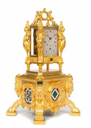 An Important French Malachite Mounted Exhibition Travel Clock By Paul Garnier, Circa 1845