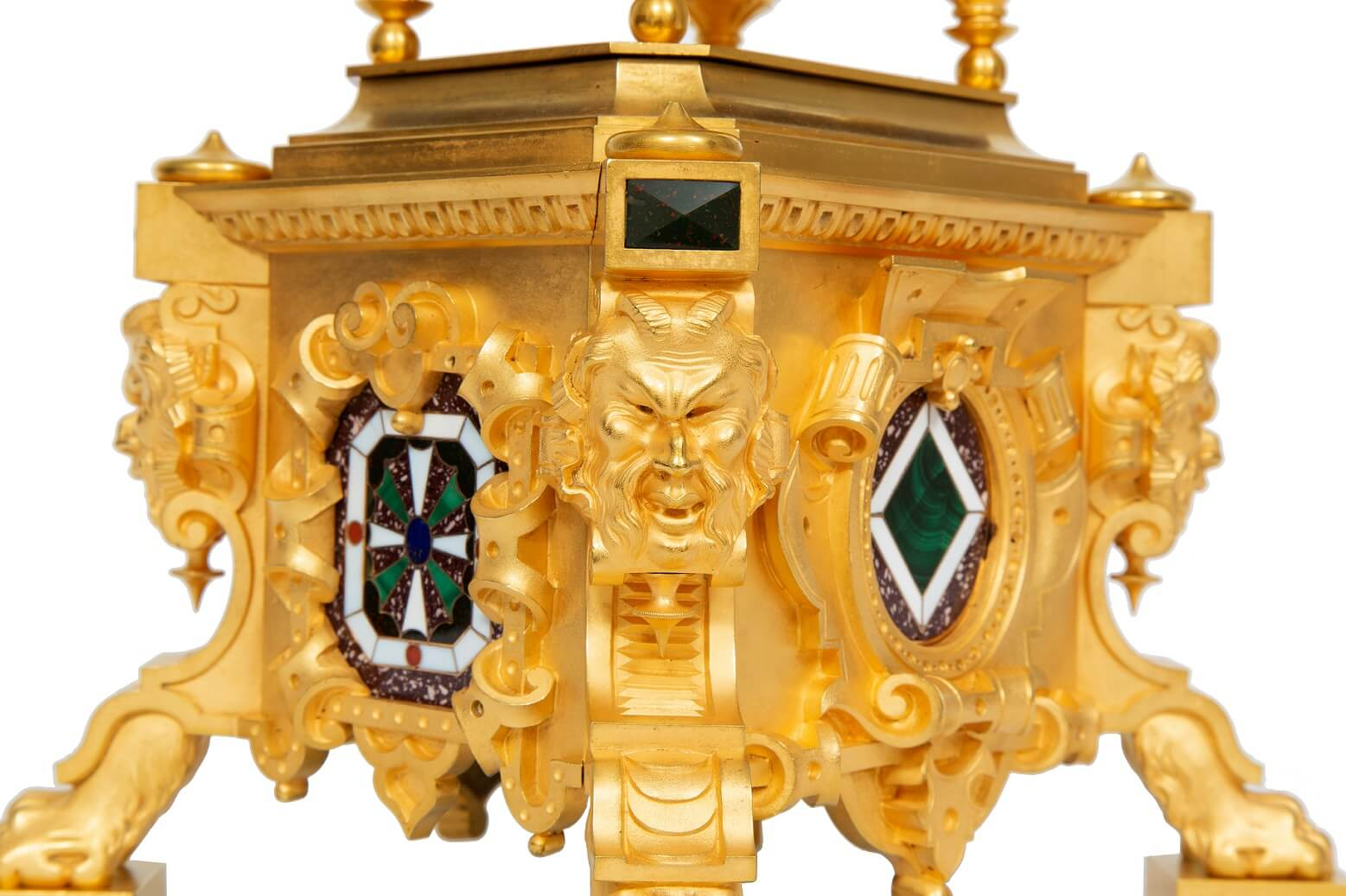 French-gilt-brass-carriage-antique-clock-travel-sculptural-exhibition-Paul Garnier-Paris-alarm-repeating-malachite