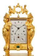 French-gilt-brass-carriage-antique-clock-travel-sculptural-exhibition-Paul Garnier-Paris-alarm-repeating-malachite