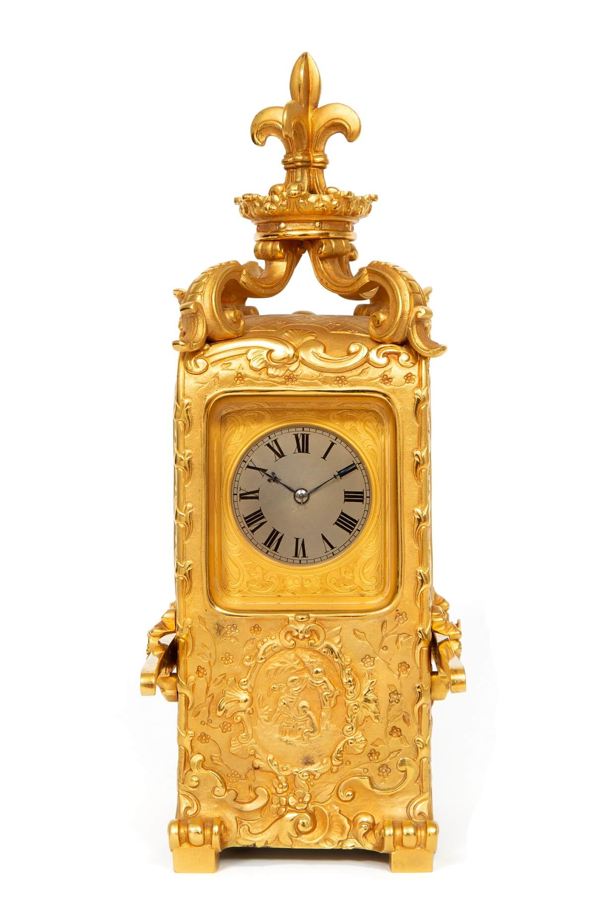 French-rococo-gilt-brass-sedan-carriage-antique-clock-striking-1