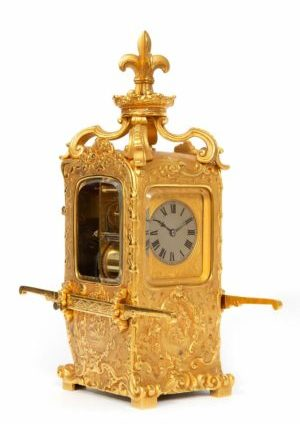 Een Zeldzame Franse Verguld Messing 'draagkoets' Reisklok, Circa 1870.