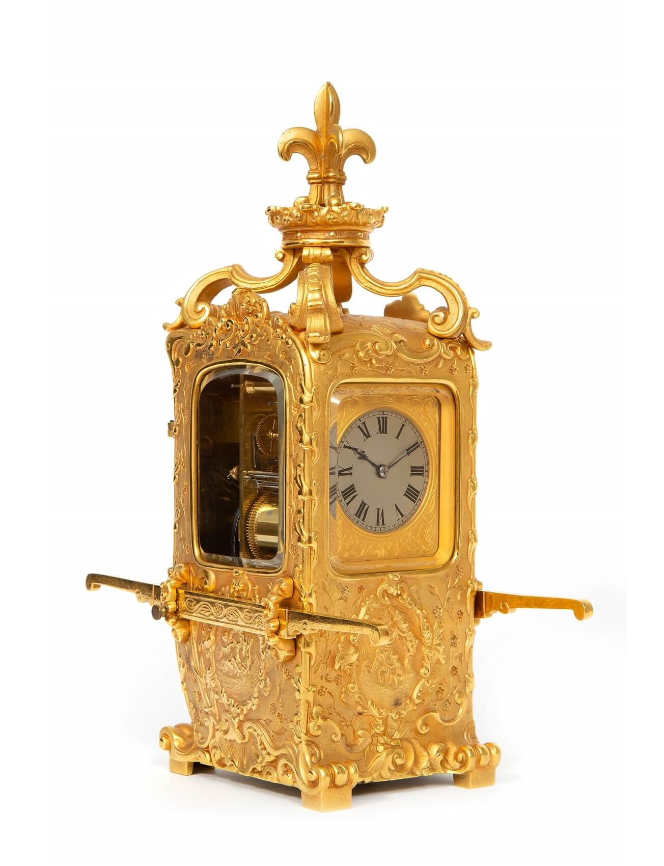 French Rococo Gilt Brass Sedan Carriage Antique Clock Striking 2th