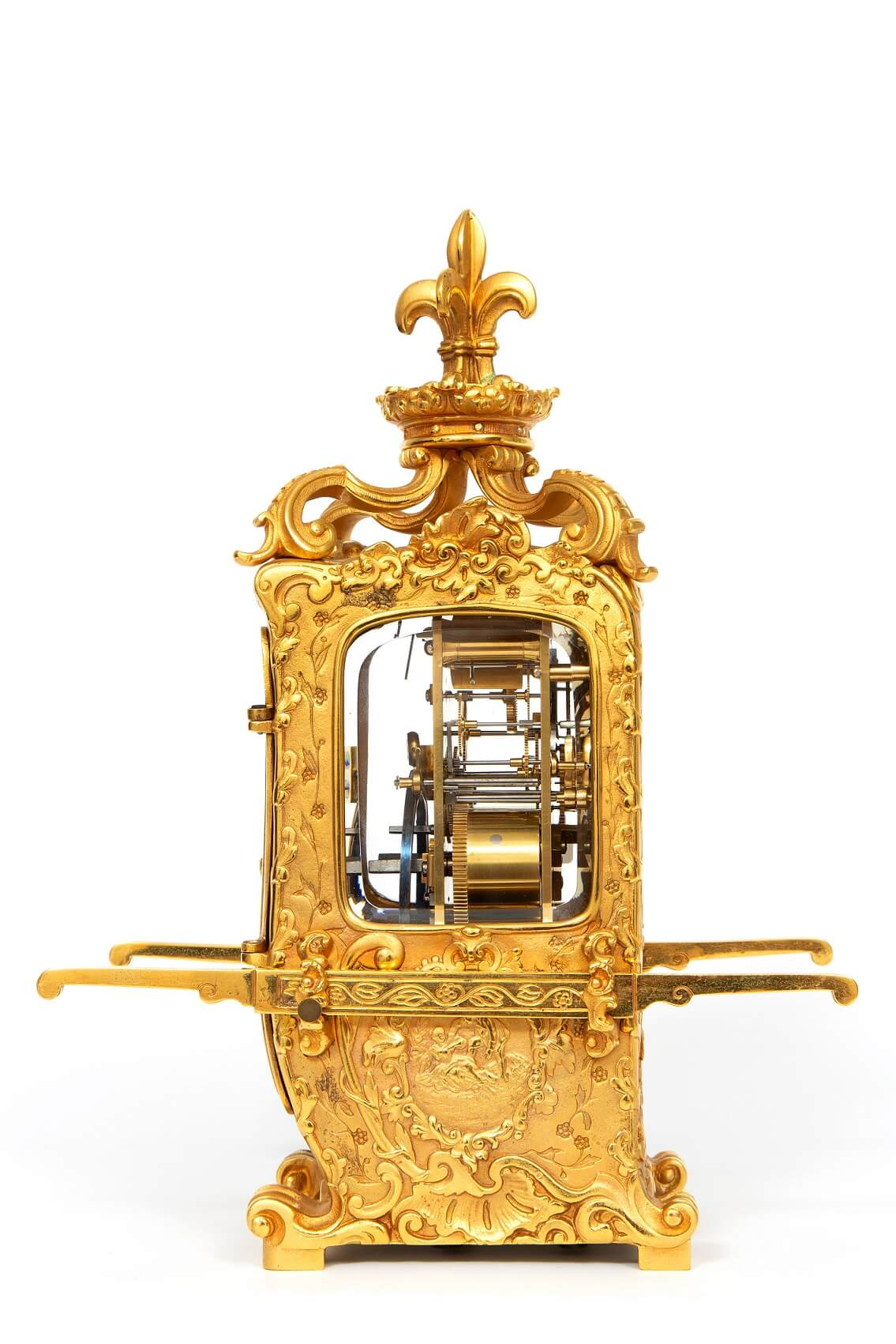 French-rococo-gilt-brass-sedan-carriage-antique-clock-striking-3