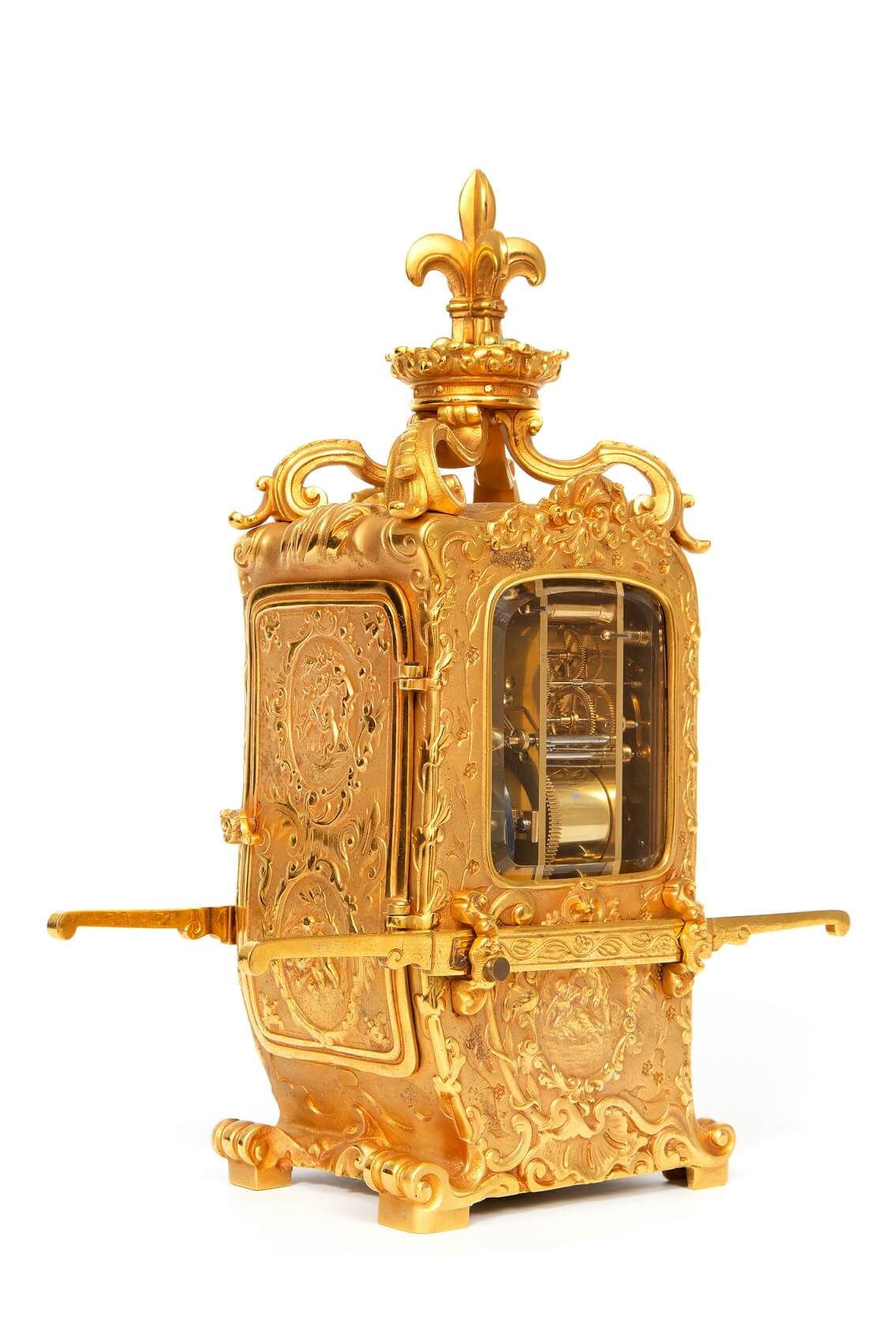 French-rococo-gilt-brass-sedan-carriage-antique-clock-striking-4