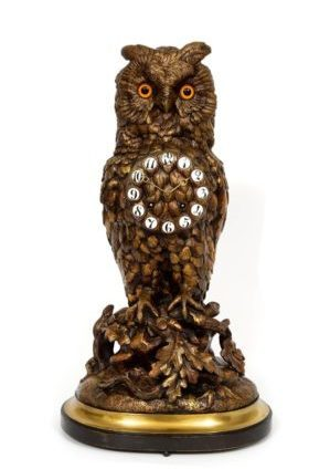 A Fine French Patinated Bronze Sculptural Mantel Clock Owl, Circa 1880