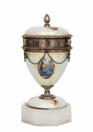 A Minature Swiss Silver Guilloche Enamel 'cercle Tournant' Timepiece, Circa 1900