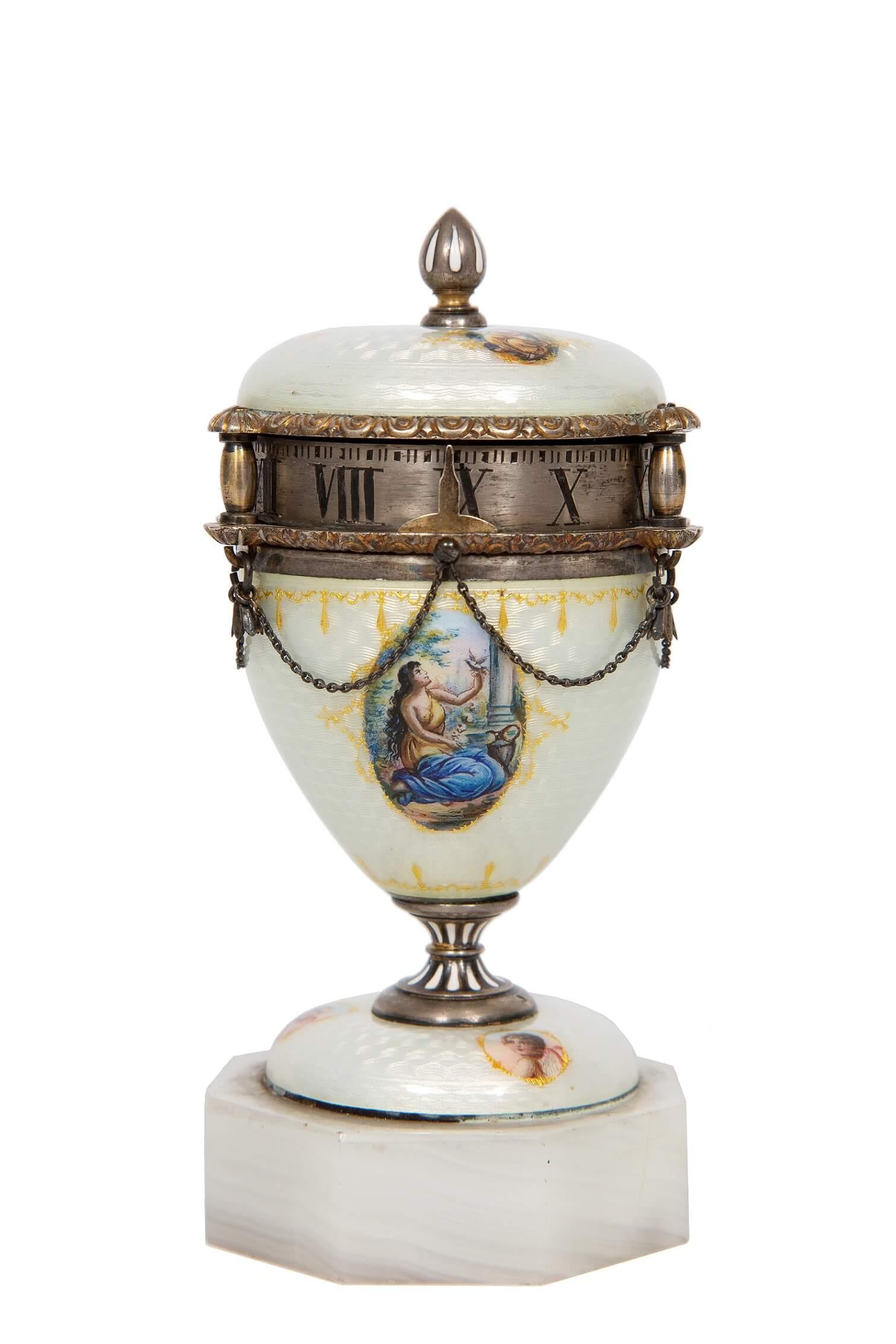 Swiss-miniature-silver-guilloche-translucent-enamel-cercle-tournant-clock
