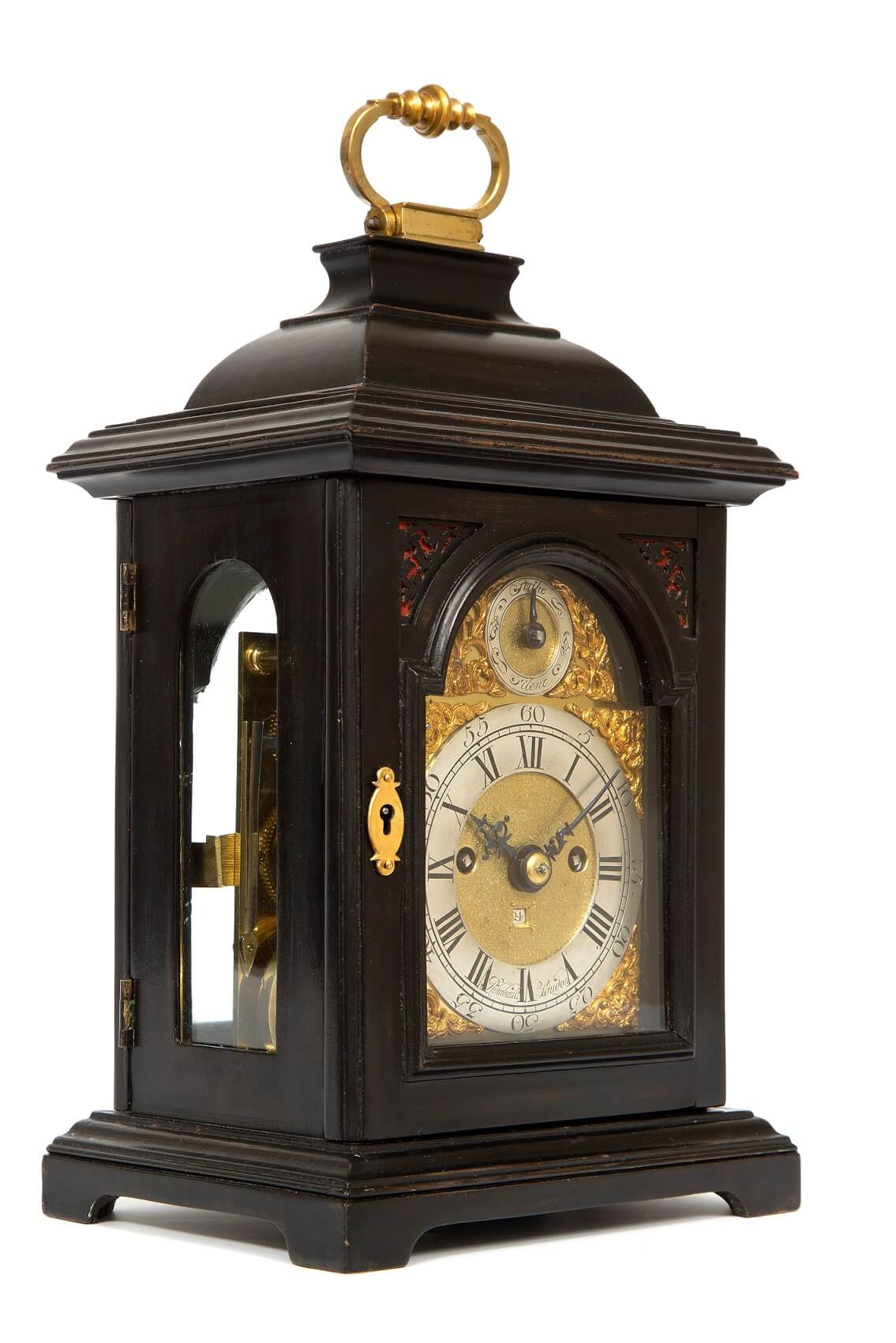 English-miniature-ebonised-antique-table-clock-quarter-repeating-rare-Rimbault-London-