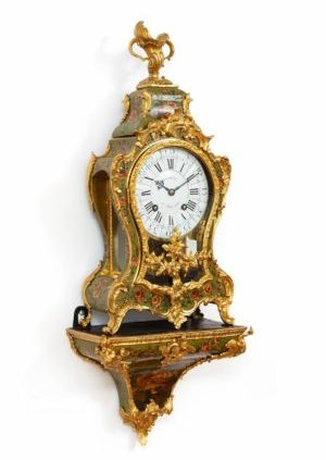 French-Louis XV-vernis Martin-bronze-rococo-bracket-antique-clock-striking