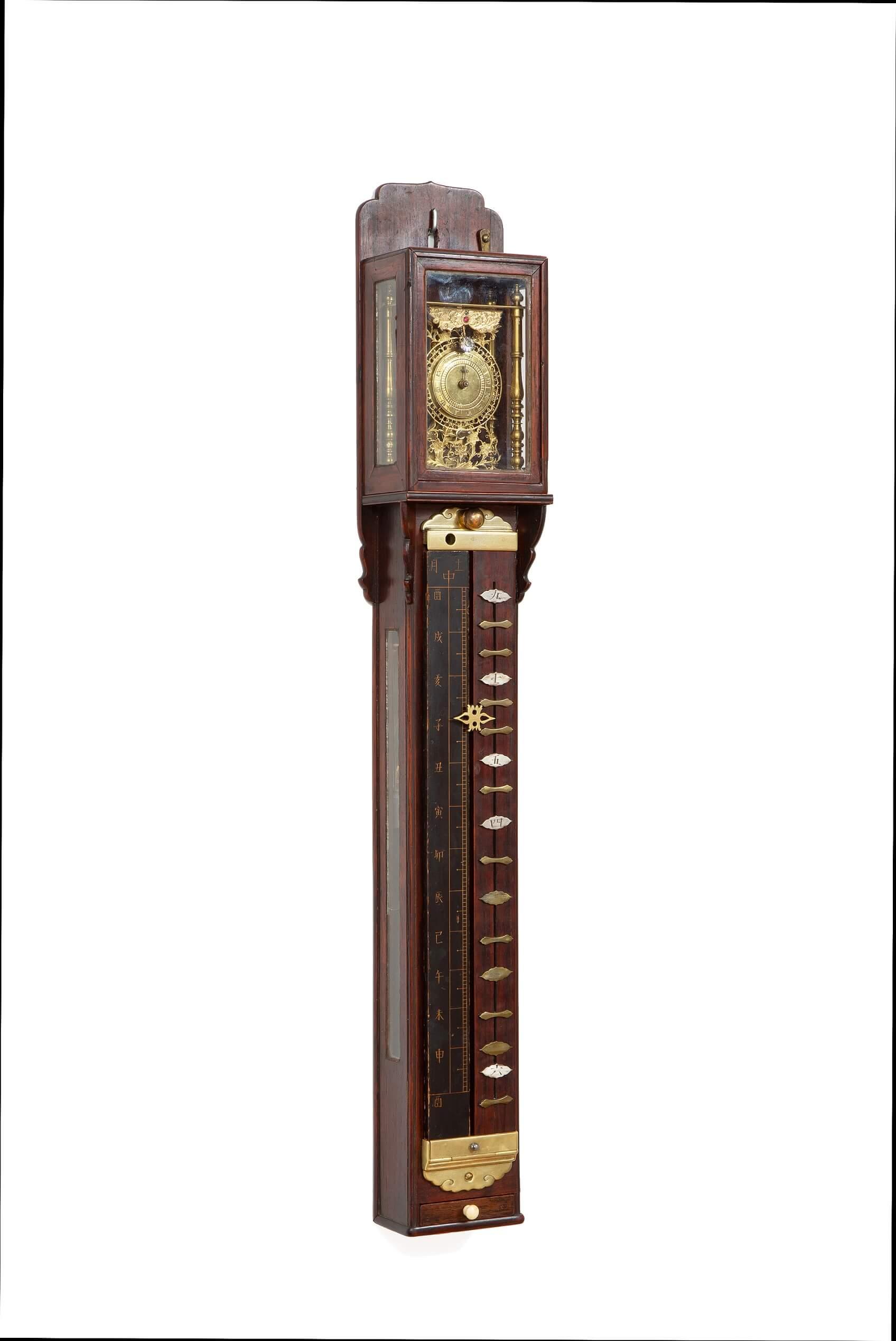 A Good Japanese Shitan Striking Pillar Clock Or Shaku