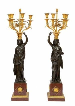 French-Louis XVI-ormolu-bronze-sculptural-candelabra-Francois Remond-Thomire-marble-Galle