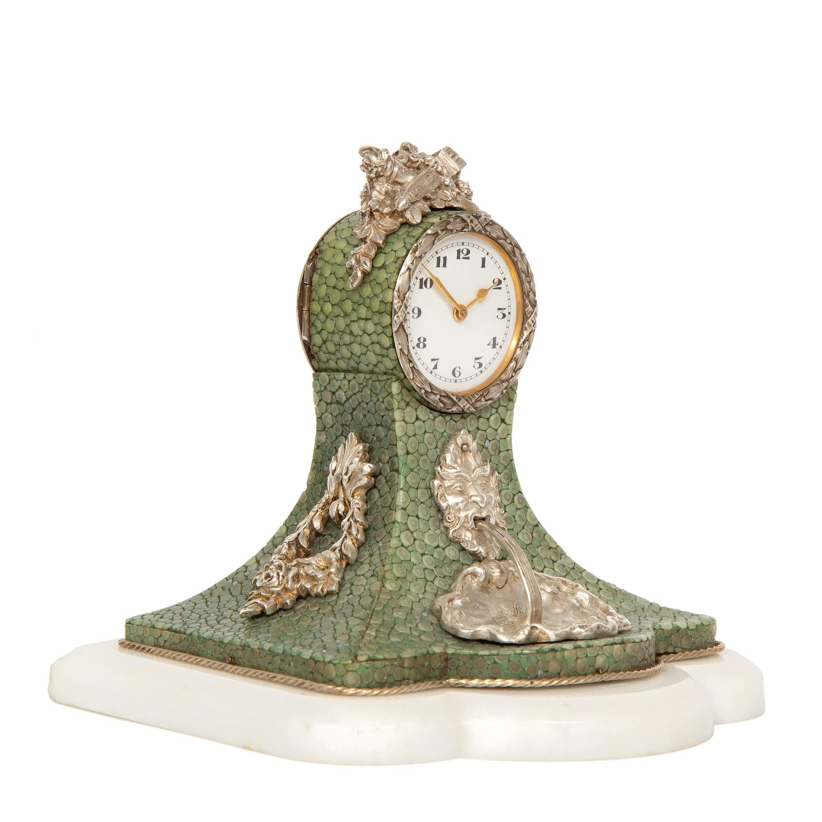 Swiss-miniature-silver-marble-shagreen-antique-clock-timepiece-