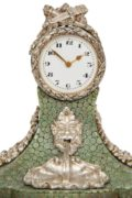 Swiss-miniature-silver-marble-shagreen-antique-clock-timepiece-