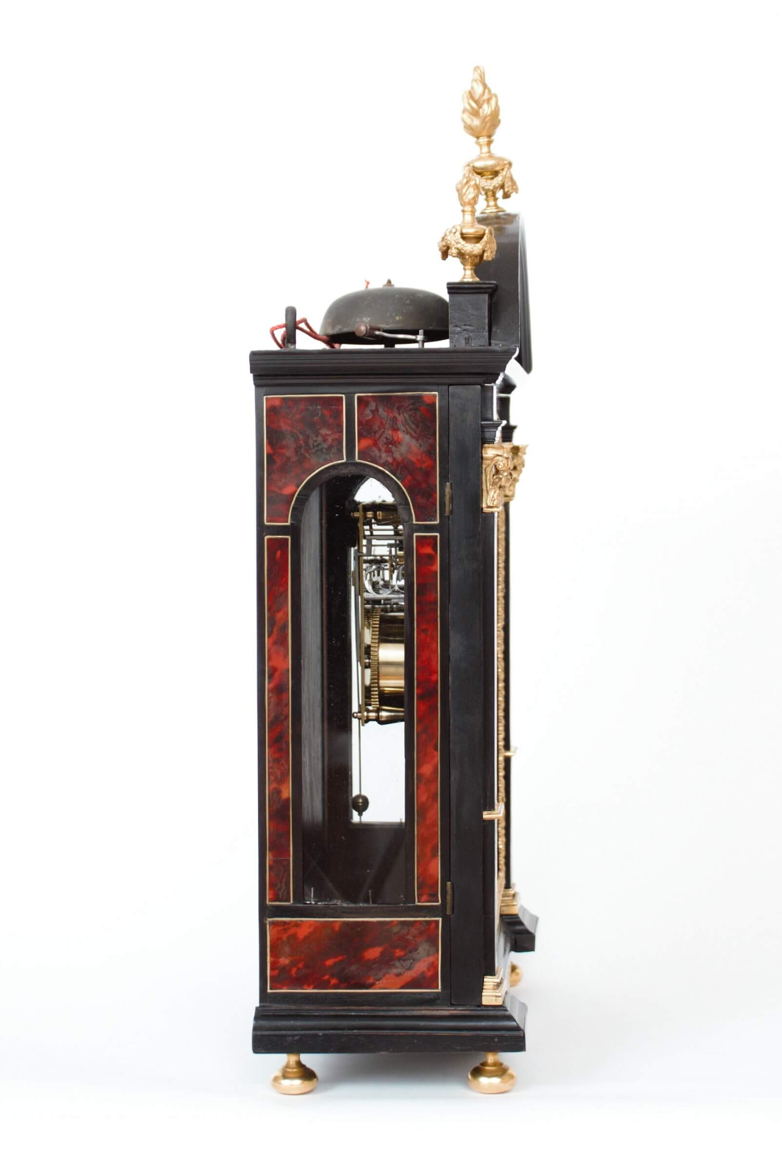 French-Boulle-ormolu-ebony-religieuse-antique-clock-Louis XIV-Gabriel Dumas-Paris