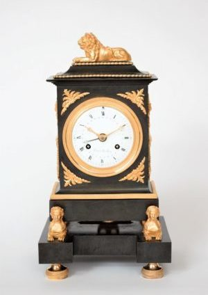 French-Empire-bronze-ormolu-gilt-patinated-mantel-antique-clock-sfinx-lion-trouvarelles-Paris