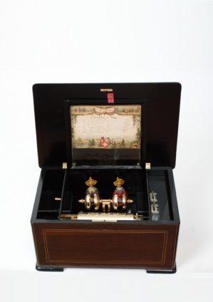 Een Zwitserse Palissander Cilinderspeeldoos Met Mandarijnen Automaat En Bellen, Circa 1880.