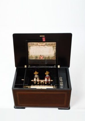 A Swiss Rosewood Marquetry Inlaid Mandarin Automaton Cylinder Bell Music Box, Bremond Circa 1880