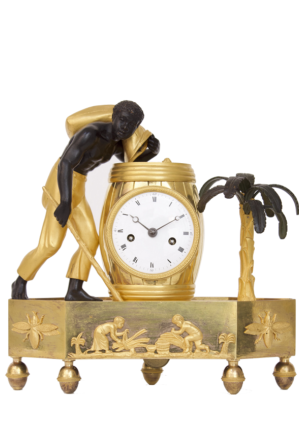 French-Empire-directoire-coffee-ormolu-pendule-bronze-antique-clock-mantel-au Bon Sauvage-blackamoor-