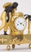 French Empire Directoire Coffee Palmtree Pendule Bronze Ormolu Antique Clock Mantel Au Bon Sauvage Blackamoor 2