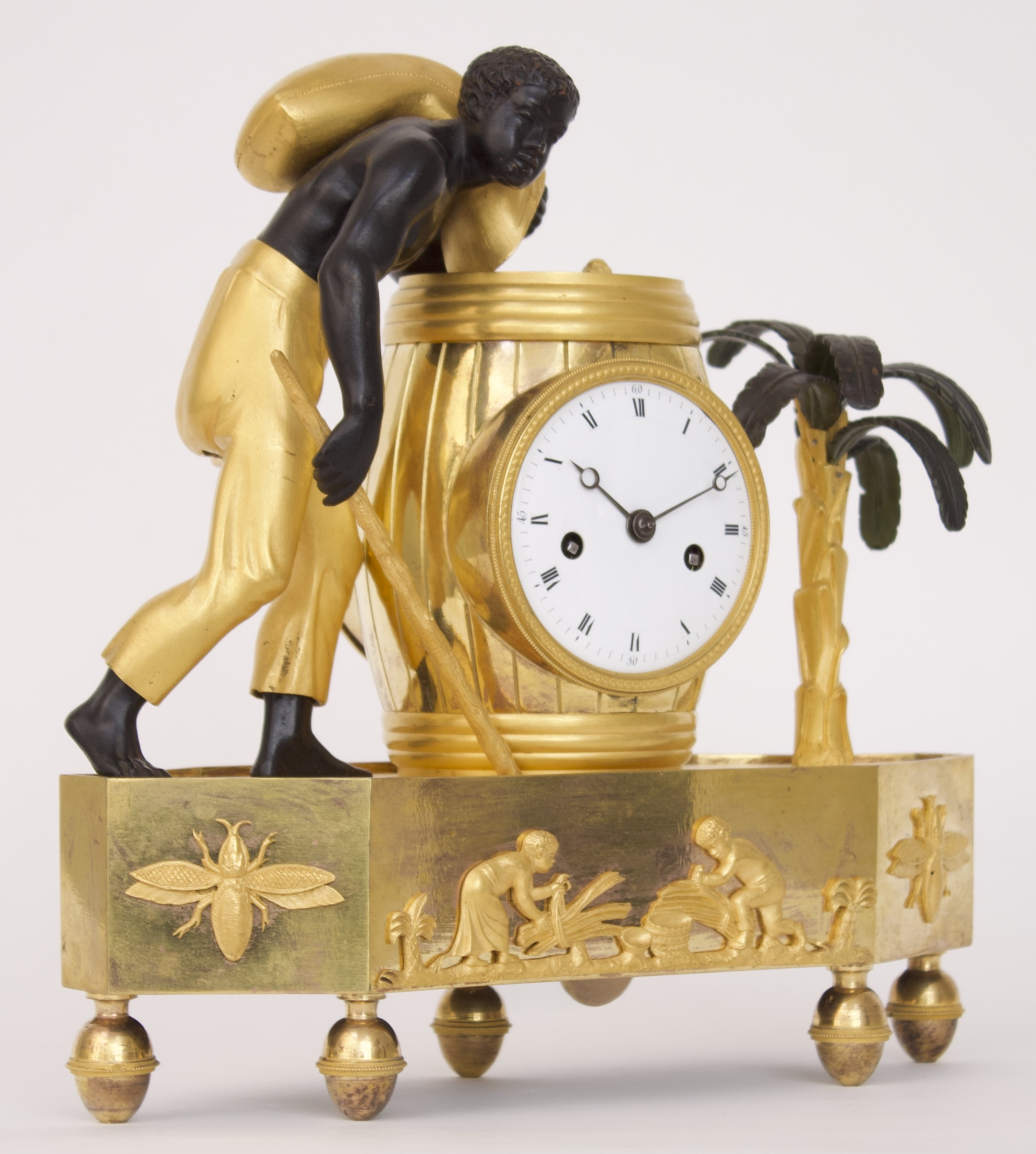 French-Empire-directoire-coffee-palmtree-pendule-bronze-ormolu-antique-clock-mantel-au Bon Sauvage-blackamoor-2