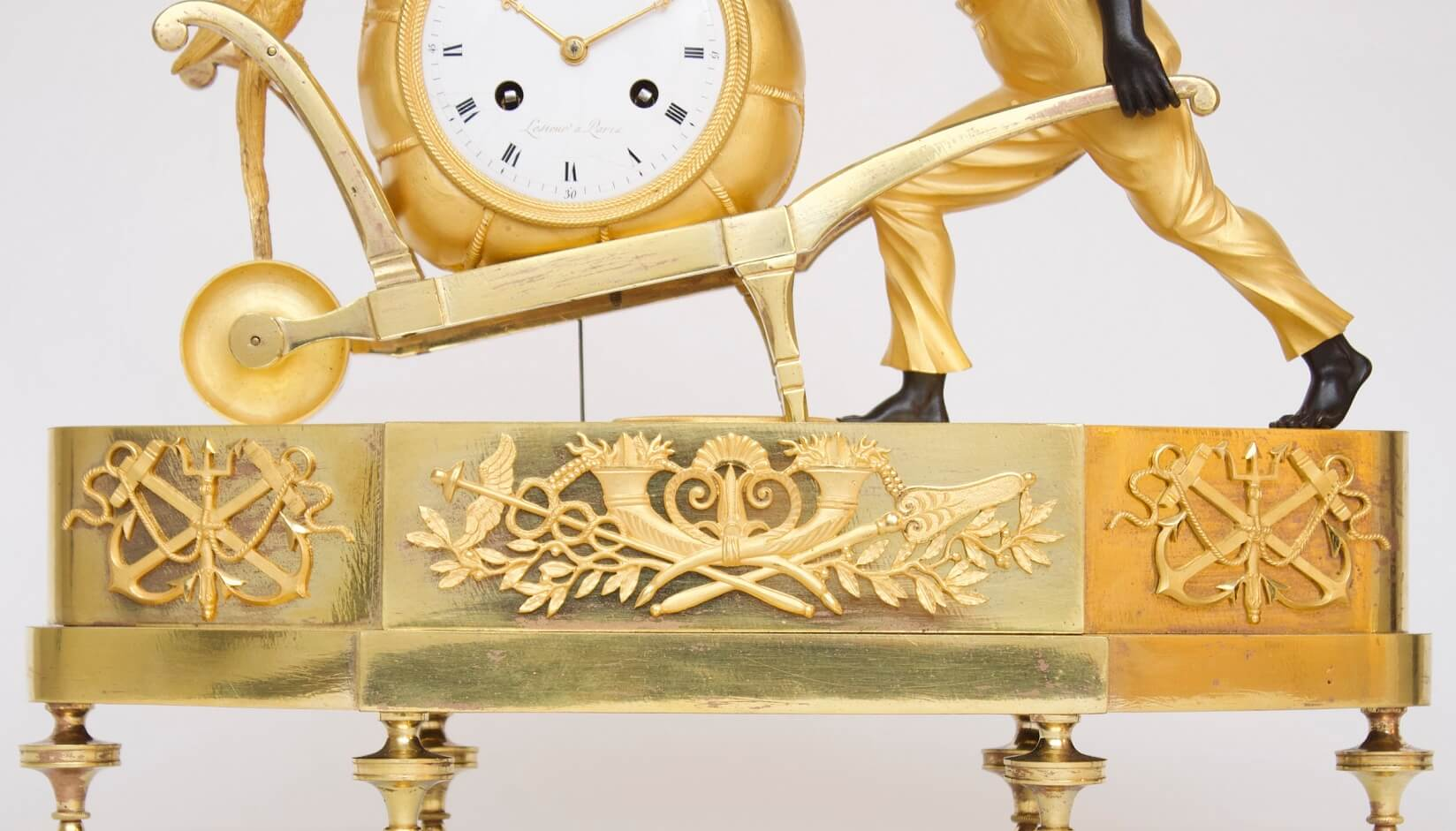 French-Empire-Directoire-ormolu-gilt-patinated-bronze-blackamoor-bon Sauvage-antique-mantel-clock-Deverberie-Lesieur