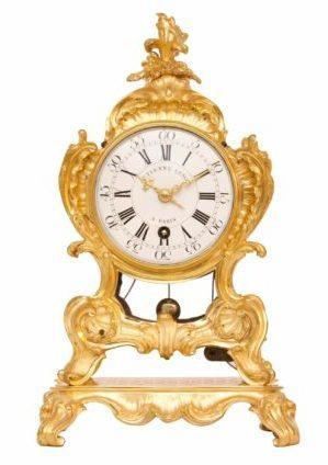 Saint Germain, French Louis XV Ormolu Quarter Repeating Mantel Timepiece, Circa 1755.