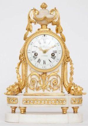 French-Louis XVI-white-marble-ormolu-gilt-bronze-antique-clock-Gille-Paris-