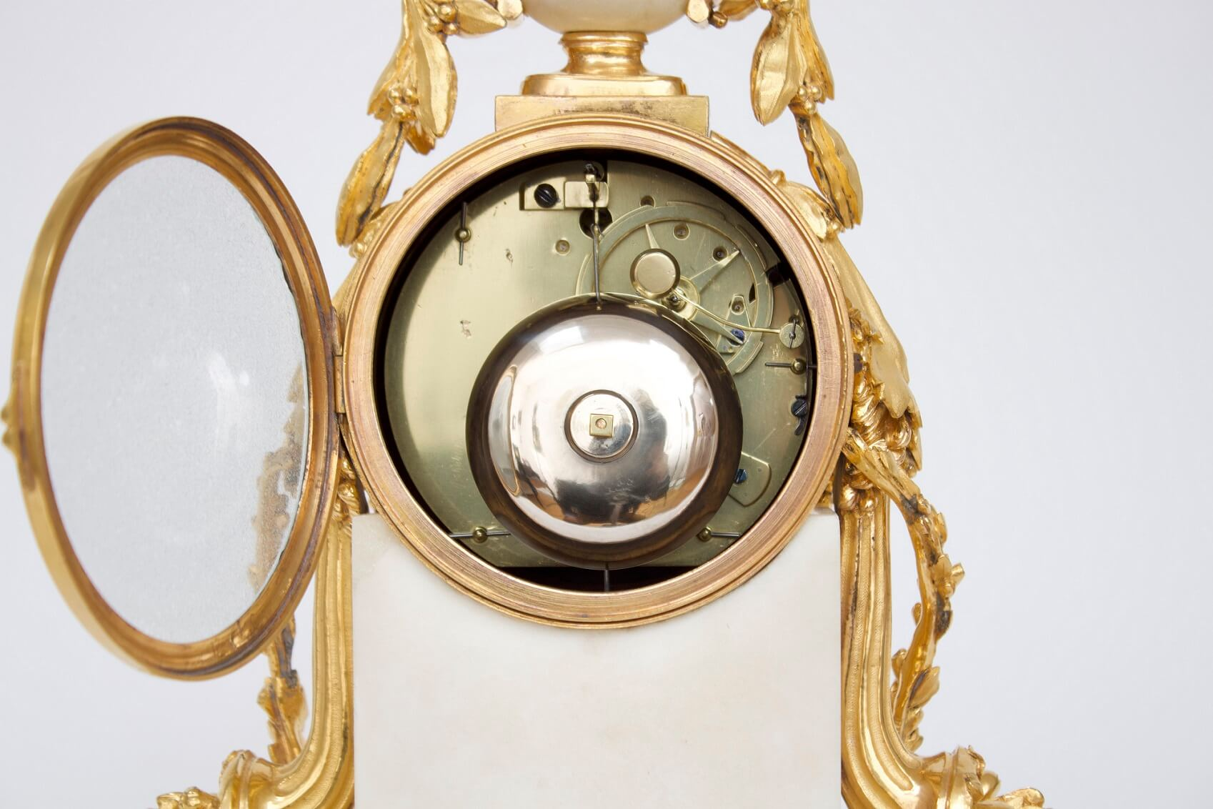 French-Louis XVI-white-marble-ormolu-gilt-bronze-antique-clock-Gille-Paris-