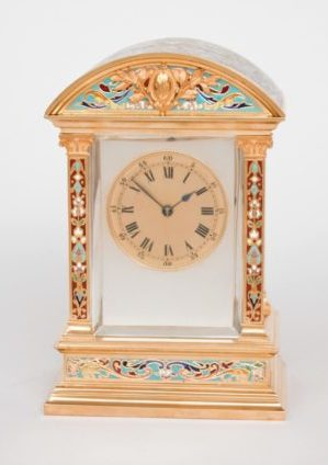 French-gilt-brass-cloisonne-enamel-champleve-arched-antique-striking-carriage-clock