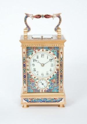 A French Gilt Brass Cloisonne Enamel Carriage Clock With Grande Sonnerie And Alarm, Circa 1890