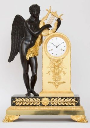 Een Franse Empire Verguld En Gepatineerd Bronzen Pendule, Bronzier Galle, Circa 1810