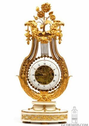 A Large French Louis XVI Lyre Mantel Clock With Oscillating Bezel, Circa 1780