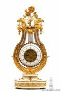 French-Belgian-Bruxelles-Louis XVI-lyre-ormolu-fire-gilt-marble-skeletonized-antique-mantel-oscillating-clock-vanderstaen