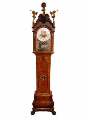 Dutch-burr-walut-calendar-moonphase-date-month-season-ships-automaton-antique-longcase-grandfather-clock-Amsterdam-du Chesne-rococo-striking-