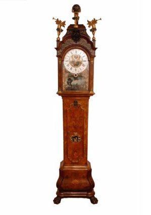 A Fine Dutch Burr Walnut 'Amsterdam' Longcase Clock With Ships Automaton, Du Chesne, Circa 1760.