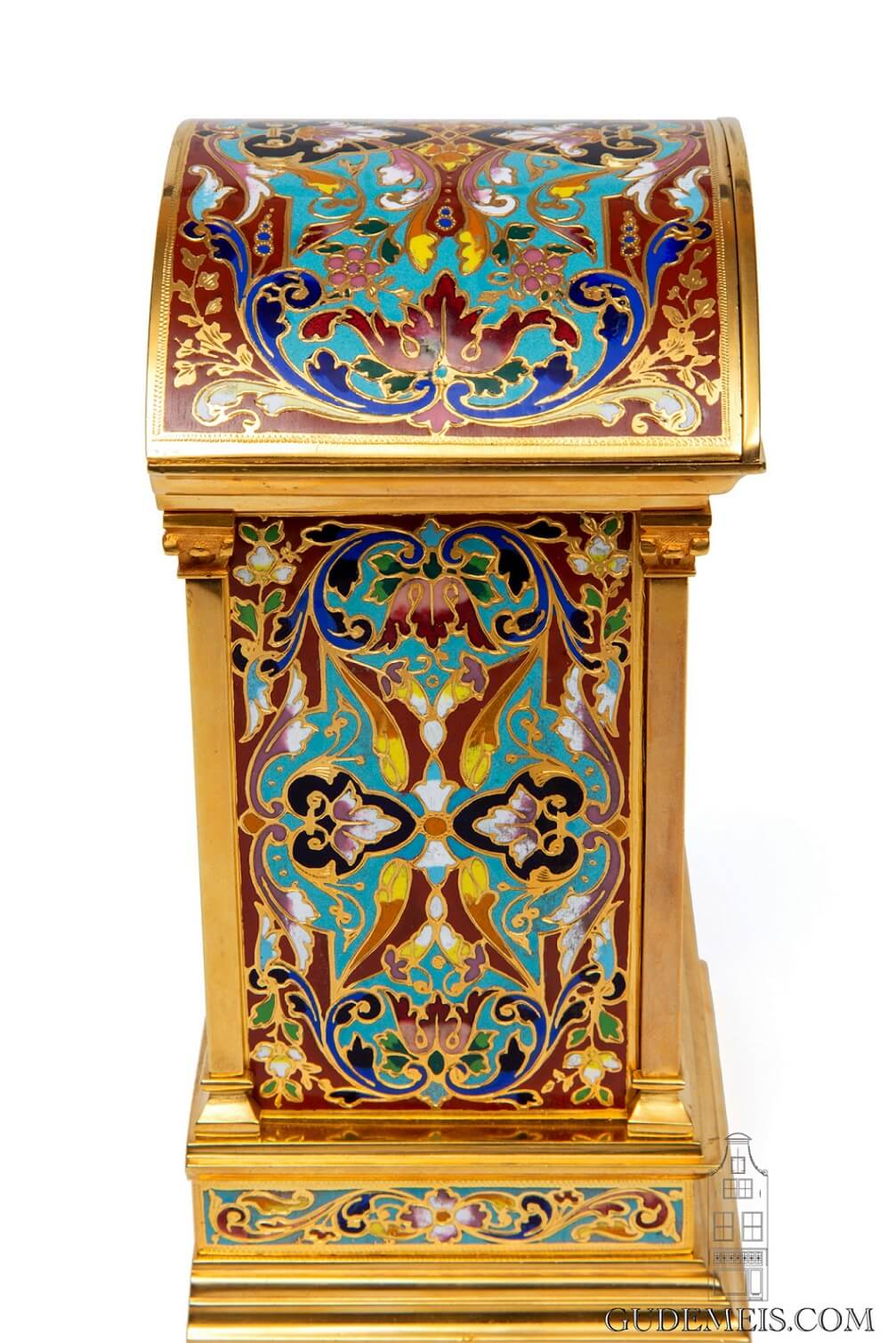 French-cloisonne-enamel-champleve-gilt-brass-carriage-travel-arched-striking-antique-clock-
