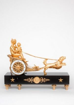 French-empire-ormolu-gilt-bronze-sculptural-chariot-striking-antique-mantel-clock-cupid-dog-