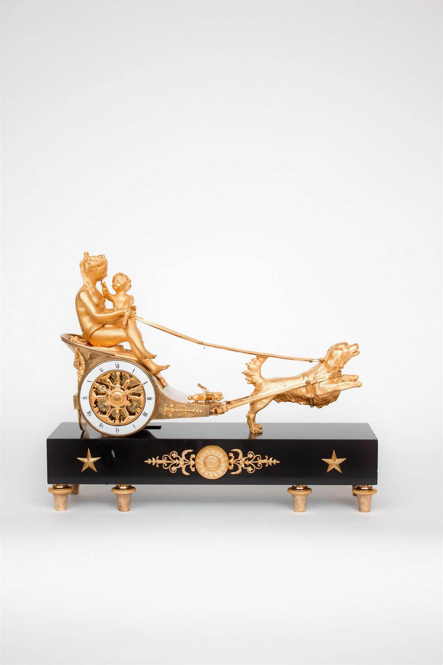 French-empire-ormolu-gilt-bronze-sculptural-chariot-striking-antique-mantel-clock-cupid-dog-