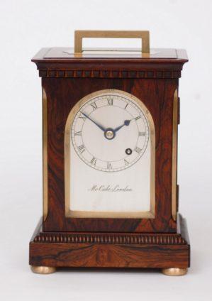 English-British-brass-rosewood-library-travel-antique-clock-timepiece-McCabe-London