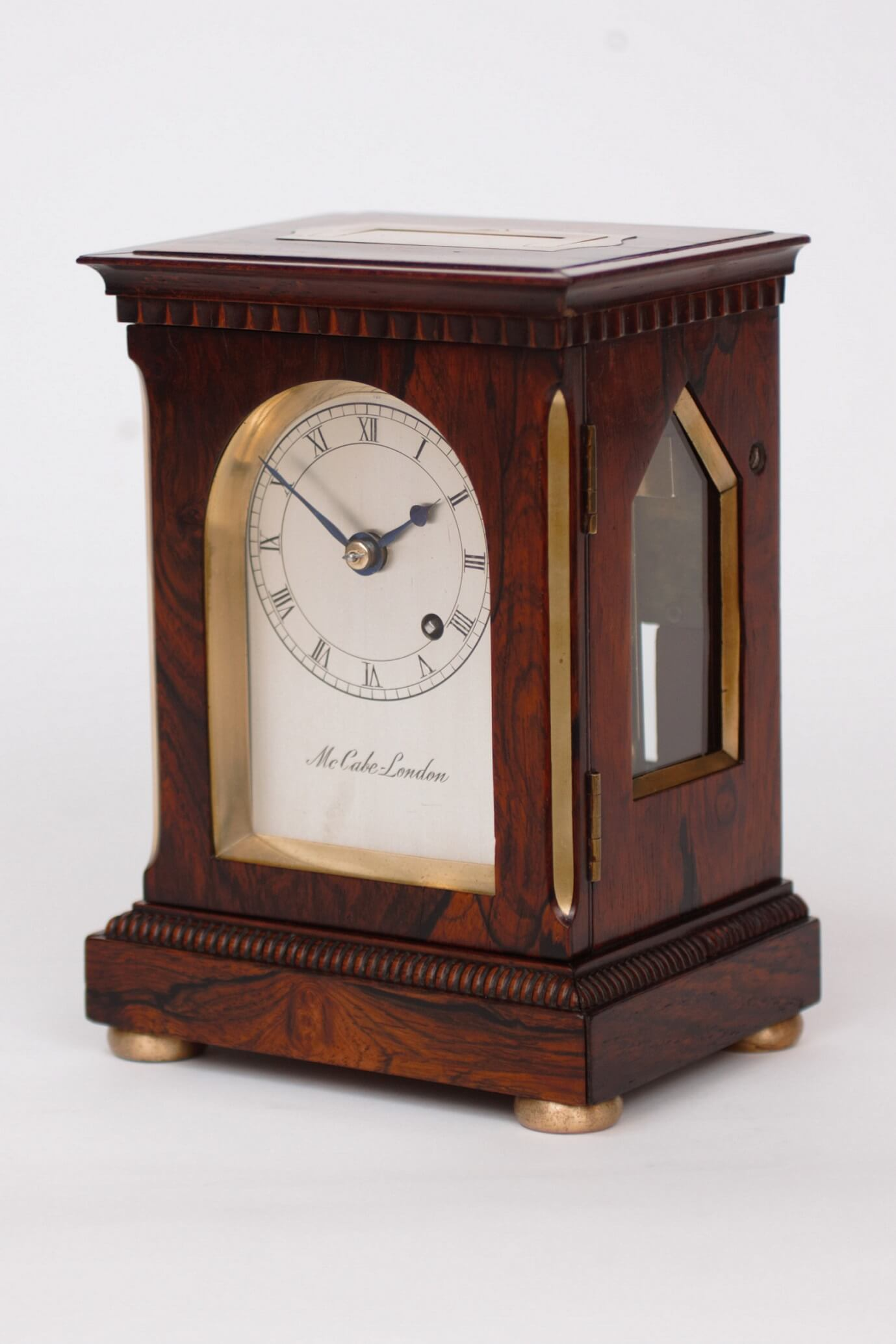 English-British-brass-rosewood-library-travel-antique-clock-timepiece-McCabe-London