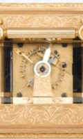 English-engraved-gilt-brass-blue John-carriage-antique-travel-clock-London-barwise-cole-